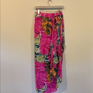 Olivaceous bright palm print draped skirt